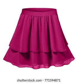 Fuchsia satin pleated two parts skirt isolated white