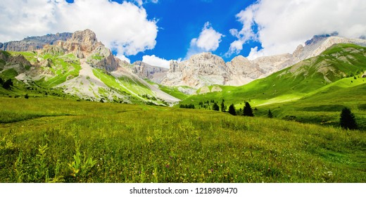 Fuciade valley at the San Pellegrino Pass, in the Italian Dolomites