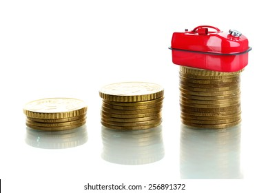Fuel canister on stack of coins isolated on white