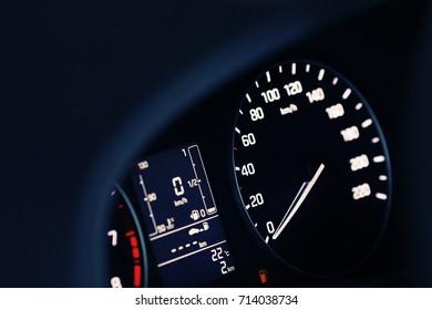 Fuel consumption theme. Empty tank indicator on car dashboard