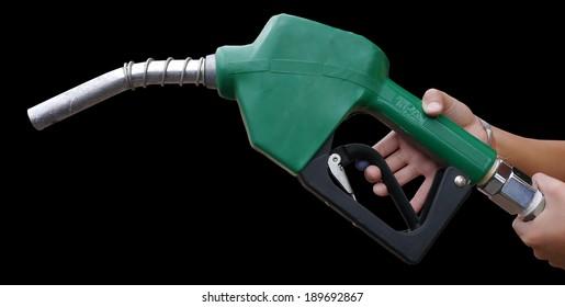 Fuel dispenser on black background.
