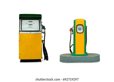 Fuel dispensers old color yellow and green retro style vintage isolated on white background.