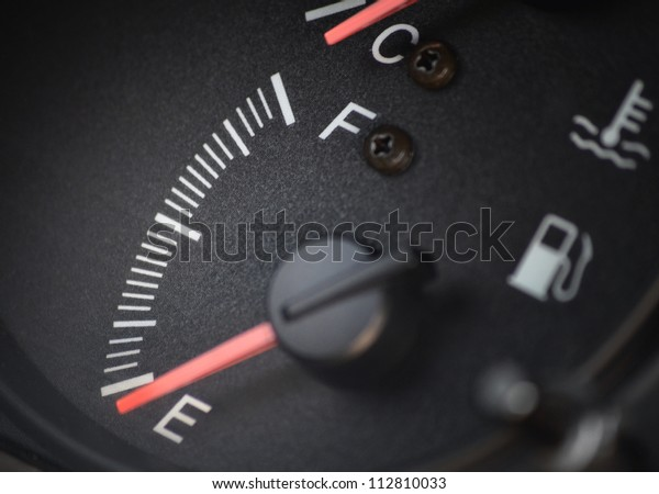 Fuel gauge dash board close up