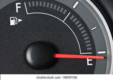 Fuel gauge with needle pointing to empty