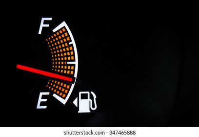 Fuel gauge on the black background