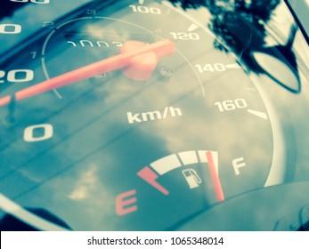 Fuel gauge panel on motorcycle