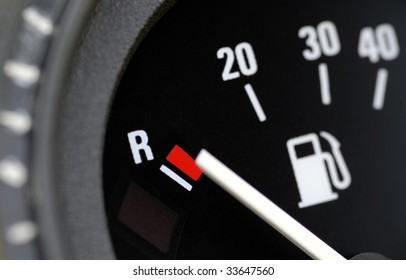 Fuel indicator at position empty