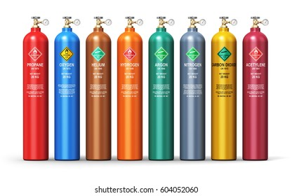 Fuel industry manufacturing business concept: 3D render of color metal containers or cylinders with different liquefied compressed natural gases LNG or LPG with high pressure gauge meters and valves
