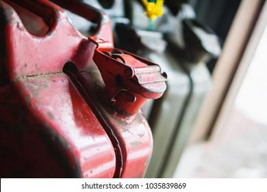 Fuel jerrycans in a garage