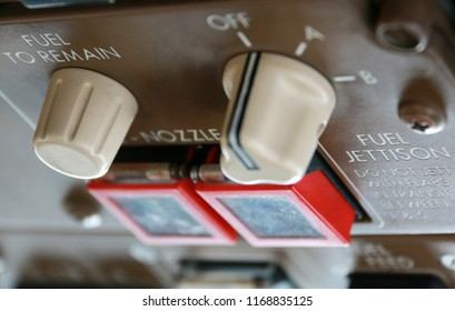 Fuel Jettison System Control on the Overhead Panel in the Cockpit of a Jumbo Jet