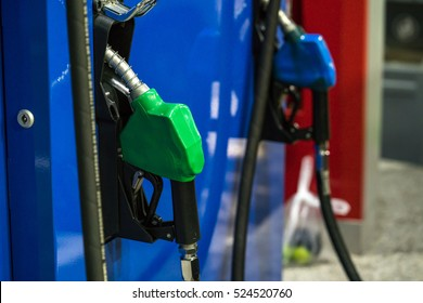 Fuel nozzle Gasoline and diesel distributor at the gas station