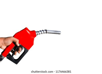 Fuel nozzle handle, which separated from the background scene white.