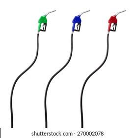Fuellnudel und -schlauch einzeln auf weißem Hintergrund. Roter, grüner und blauer Gasnebel.