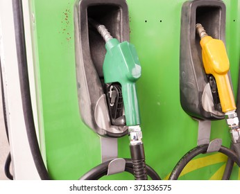 Fuel nozzle in oil station Thailand