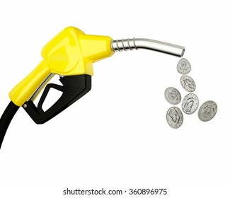 Fuel nozzle pouring Dollar coins isolated on white background