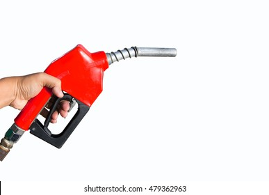Fuel nozzle Red handles on a white background.