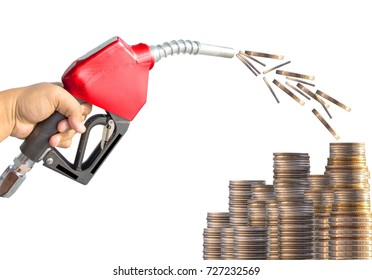 Fuel nozzle red is out. The concept of investment. Oil price to pay,Fuel nozzle red on the background. Drive economy Travel investment