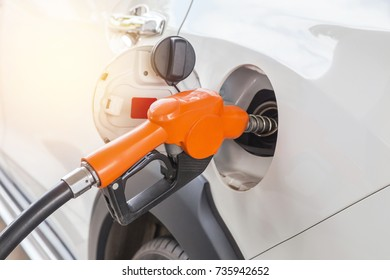 fuel nozzle refueling gas pump for the car in gas service station