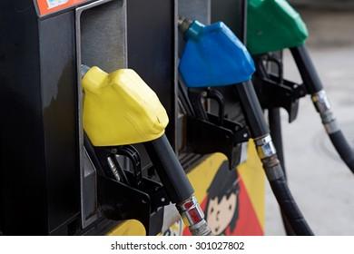 Fuel oil dispenser at petrol filling station.