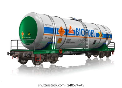 Fuel, oil and gas industry, ecology protection technology, logistics, cargo shipping and freight railroad transportation business concept: industrial railway tankcar with biofuel isolated on white