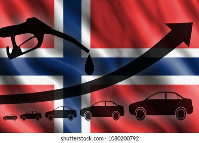 Fuel pistol, automobile silhouettes, arrow of growth against the background of the flag of Norway