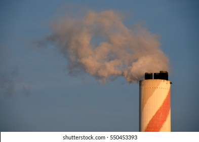 Fuel Power Plant Smokestacks Emit Carbon Dioxide Pollution