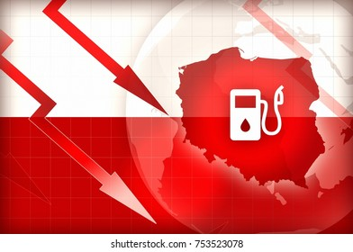 Fuel price decrease in Poland flag and arrows - concept news background illustration
