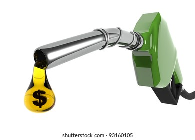 A fuel pump with a drop of petrol in dollar sign. (Digitally generated image)