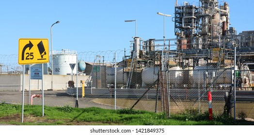 Fuel Storage Tanks Oil Refinery, Geelong Victoria Australia June 11 2019.   Oil refinery owned by Viva Energy Australia.   One of few in southern hemisphere producing Avgas for piston engine planes