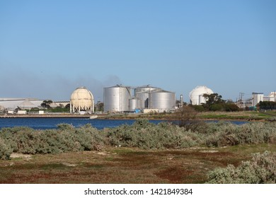 Fuel Storage Tanks Oil Refinery, Geelong Victoria Australia June 11 2019.   Oil refinery owned by Viva Energy Australia producing Avgas for piston engine planes