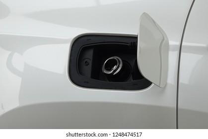 Fuel tank door on car for fueling gasoline or diesel open