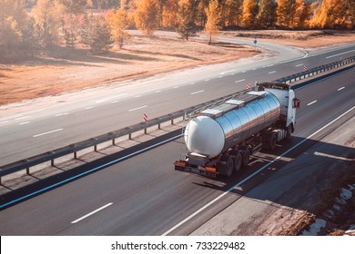fuel tanker truck. on the road.