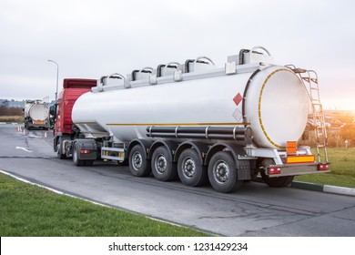 Fuel truck waiting in line for unloading at a fuel automobile refueling
