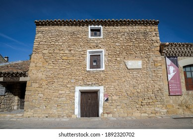 FUENDETODOS, SPAIN - NOVEMBER 18, 2017: Francisco de Goya birthplace. It is located in the village of Fuendetodos, province of Zaragoza, and was built in the early 18th century