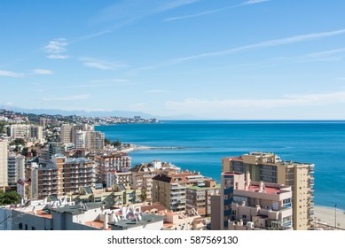FUENGIROLA, SPAIN - FEBRUARY 7, 2017: A view to Fuengirola and its surroundings, hotels, resorts and beaches of Mediterranean sea, Andalusia, Spain.