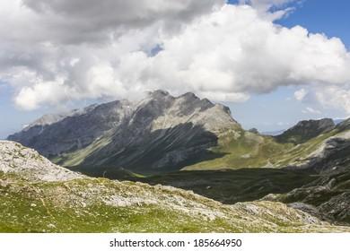 FUENTE DE, SPAIN - JUNE 30, 2009: Picos de Europa is a mountain range in Northern Spain.