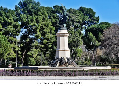 The Fuente del Angel Caido (Fountain of the Fallen Angel or Monument of the Fallen Angel), a highlight of Buen Retiro Park (Parque del Buen Retiro), one of the largest parks of Madrid, Spain