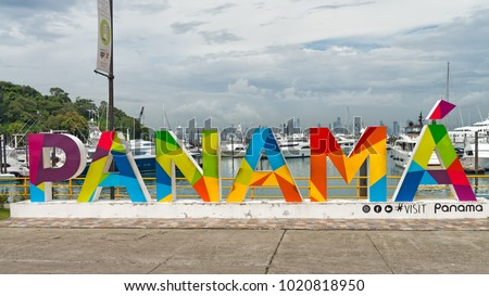 FUERTE AMADOR, PANAMA CITY, PANAMA - JANUARY 17, 2018: The Panama sign on the Amador Causeway welcomes passengers from cruise ships at the Flamenco Island Marina and is a popular photographic site.