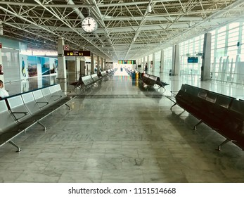 Fuerteventura, Canary Islands - July 01 2018: corridor of the airport of the island of Fuerteventura in Spain, with chairs and display boards...