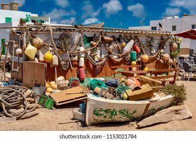 Fuerteventura, Canary Islands - July 01 2018: fishing village on the ocean in the island of Fuerteventura in the peninsula of Jandia Canary archipelago
