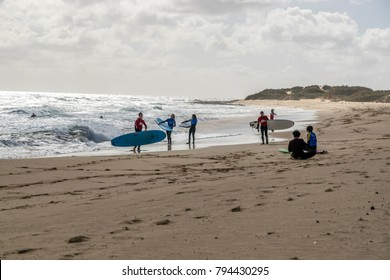 Fuerteventura, Canary Islands, Spain - December 2017; Surfing in Fuetreventura