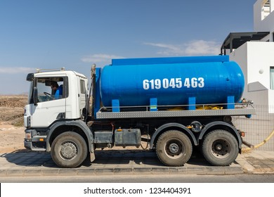 Fuerteventura, Canary Islands, Spain - September 18 2018: Drinking Water Truck, carrying water to houses with water which are not connected to public water supply