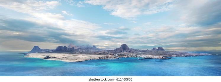 Fuerteventura island from the volcano on the Lobos