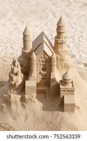 FUERTEVENTURA, SPAIN - CIRCA 2013: Artistic sandcastle art on a beach in Fuerteventura, Canary Islands