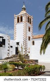 FUERTEVENTURA, SPAIN - CIRCA 2013: The bell tower of Iglesia de Santa Maria in Betancuria, Fuerteventura