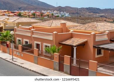 Fuerteventura, Spain - July 03 2018: colorful villas in the tourist village Fuerteventura island Canarian island in Spain