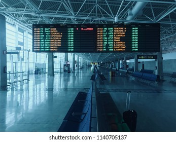 Fuerteventura, Spain - July 09 2018 : electronic panel of departures at the airport in Spain