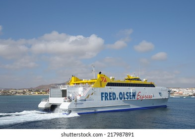 FUERTEVENTURA, SPAIN - MAY 29: High Speed Ferry Fred Olsen Express in the harbor of Corralejo. May 29, 2009 on Canary Island Fuerteventura, Province Las Palmas, Spain
