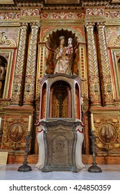 FUERTEVENTURA, SPAIN - SEPTEMBER 16, 2015: Main nave and altar in  Cathedral Church of Saint Mary of Betancuria in Fuerteventura, Canary Islands, Spain