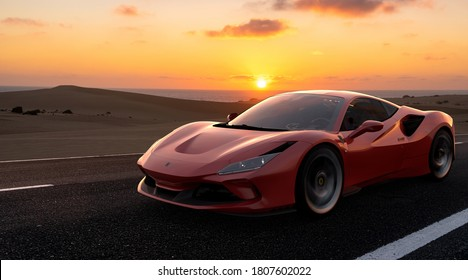 Fuerteventura,Spain-January 2020:Ferrari F8 Tributo in desert road